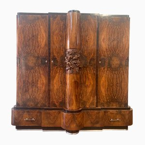 Walnut Cabinet with Cherub Carvings by Ducrot, 1920s