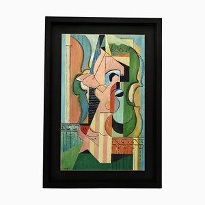 Composizione cubista con dipinti raffiguranti violinisti Petroff