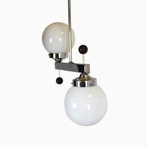 Czech Art Deco Chromed Metal & Glass Pendant Lamp, 1940s