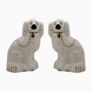 Peros de perro Staffordshire Mid-Century de cerámica de 1378-4 de Beswick England, años 60. Juego de 2