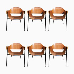 Italian Curved Wood, Brass & Black Enameled Metal Dining Chairs by Carlo Ratti, 1950s, Set of 6