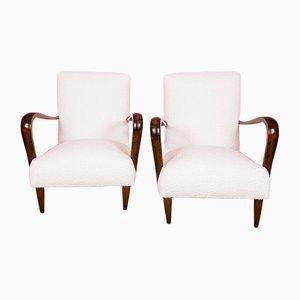 Vintage Bouclé & Wood Lounge Chairs, 1950s, Set of 2