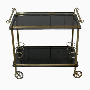 Rolling Brass & Smoked Glass Trolley, 1970s