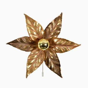 Willy Daro Style Brass Flower Sconce from Massive Lighting, 1970s