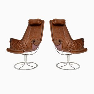 Vintage Leather Jetson Swivel Chairs by Bruno Mathsson, 1960s, Set of 2