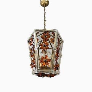Italienische Florale Glas Hängelampe, 1950er