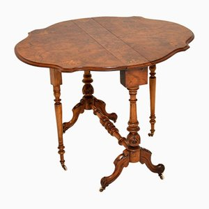 Antique Burr Walnut Drop-Leaf Sutherland Side Table