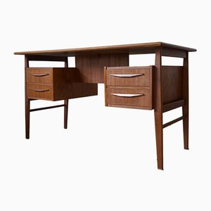 Danish Teak Desk by Gunnar Nielsen for Tibergaard, 1960s