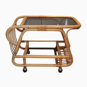 Italian Bamboo, Cane & Smoked Glass Two-Tier Cocktail Trolley with Magazine Compartment, 1970s