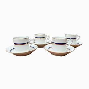 Vintage Blue & Gold Espresso Cups & Saucers from Richard Ginori, Set of 4