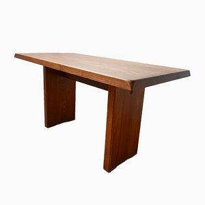 Mid-Century French Elm T14 Dining Table by Pierre Chapo