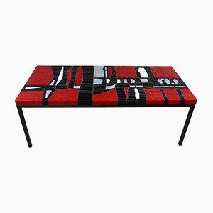 Tavolino da caffè in vetro con mosaico, anni '60