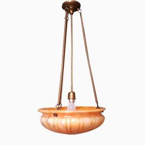 Vintage Orange Alabaster Lobed Scale Pendant Lamp, Late 20th Century