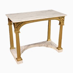 Large Lacquered & Gilded Console Table with Faux Marble Top, 1970s