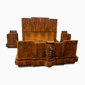 Walnut Bed & Nightstands with Cherub Carvings by Ducrot, 1920s, Set of 3