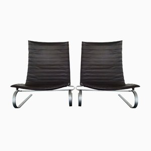 Dark Brown Leather PK20 Lounge Chairs by Poul Kjærholm for Fritz Hansen, 2008, Set of 2