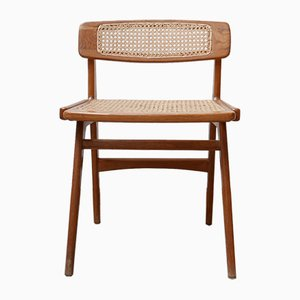 Mid-Century Wood & Cane Desk Chair by Roger Landault