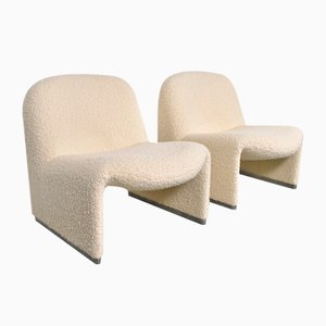 Bouclé Alky Lounge Chairs by Giancarlo Piretti for Castelli / Anonima Castelli, 1980s, Set of 2