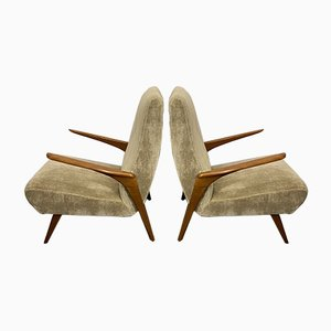 Sand-Colored Velvet Lounge Chairs, 1950s, Set of 2