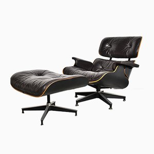 Lounge Chair with Ottoman by Charles and Ray Eames for Herman Miller, 1970s, Set of 2