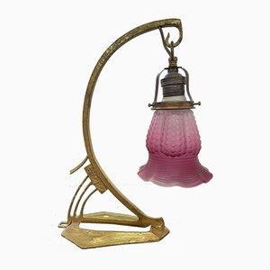 Jugendstil Doppelfunktion Tischlampe oder Wandlampe mit Original Glasleuchte, 1920er