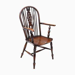 Antique Victorian Ash & Elm Wheel Back Windsor Side Chair, 1900s