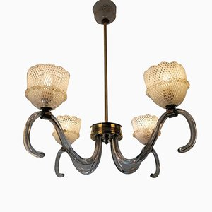 Large Art Deco Reticello Glass Ceiling Lamp by Ercole Barovier for Barovier & Toso, 1930s