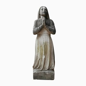 Antique Marble Statue of Kneeling Religious Praying Lady
