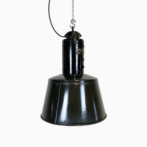 Vintage Black Enamel Factory Lamp, 1950s