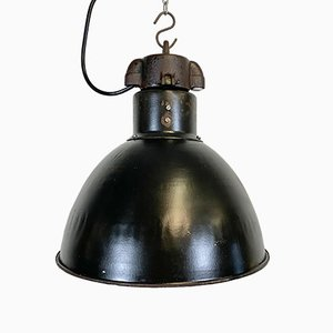 Bauhaus Industrial Black Enamel Pendant Lamp, 1950s