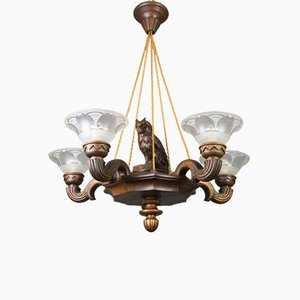 Art Deco Wooden Chandelier with Owl Figure & Glass Shades by Ezan, 1920s