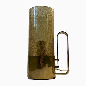 Swedish Brass & Smoked Glass Table Lamp by Nya Ôia, 1970s