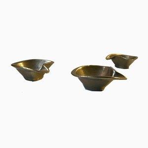 Scandinavian Brass Ashtrays, 1960s, Set of 3