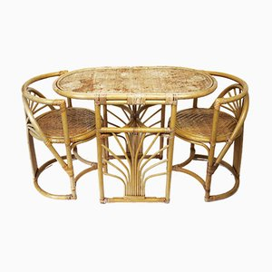 Bamboo and Rattan Table & Chairs Set, 1970s