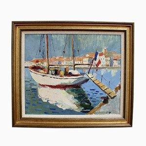 Velero en el puerto de St. Tropez, escuela francesa, años 60