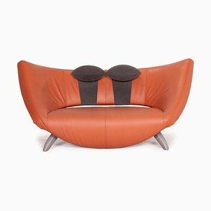 Danaide Orange Leather 2-Seater Sofa from Leolux