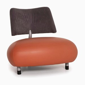 Pallone Leather Armchair with Orange Fabric from Leolux