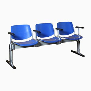 3-Seater Axis 3000 Bench with Armrests by Giancarlo Piretti for Anonima Castelli