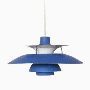 Lampe à Suspension PH5 Bleue par Poul Henningsen pour Louis Poulsen