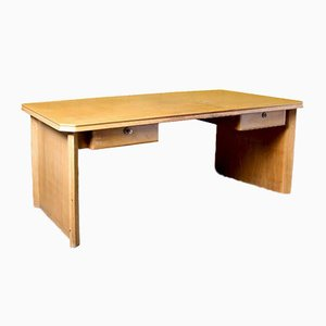 Large Blonde Wood Desk