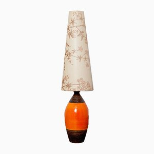 West German Style Brown and Orange Table Lamp