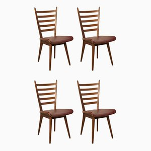 Slatted Chairs, 1950s, Set of 4