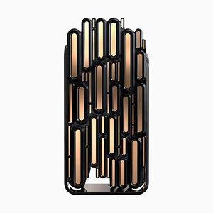 Schrank aus Metallic und Schwarz Lackiertem Holz