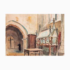 Jules Rene Leblanc - Church interior - ink and Watercolor - Early 20th Century