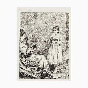 Pio Joris - the Reading - Original Radierung - Frühes 20. Jahrhundert