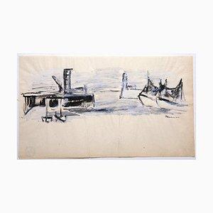 Raoul Hausmann - Boats - Originalzeichnung auf Papier - 1950er Jahre