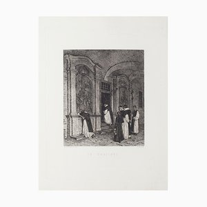 Federico Pastoris - in Prayer - Original Etching - 19th Century