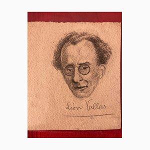 Inconnu - Portrait de Musicologue Léon Vallas - Dessin Original - Mid-20th Century