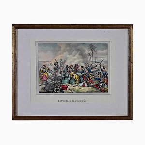 Unknown - Battle of Staoueli - Original Hand-Watercolor Lithograph - 19th Century