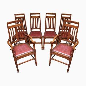 Arts und Crafts Esszimmerstühle aus Massiver Eiche, 6er Set
